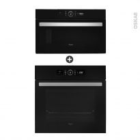 Pack design assorti - Eléctroménager encastrable - Noir - Four catalyse 65L - Micro-ondes 31L - WHIRLPOOL