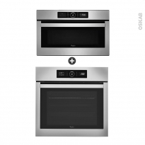 Pack design assorti - Eléctroménager encastrable - Inox - Four pyrolyse 65L - Micro-ondes 31L - WHIRLPOOL