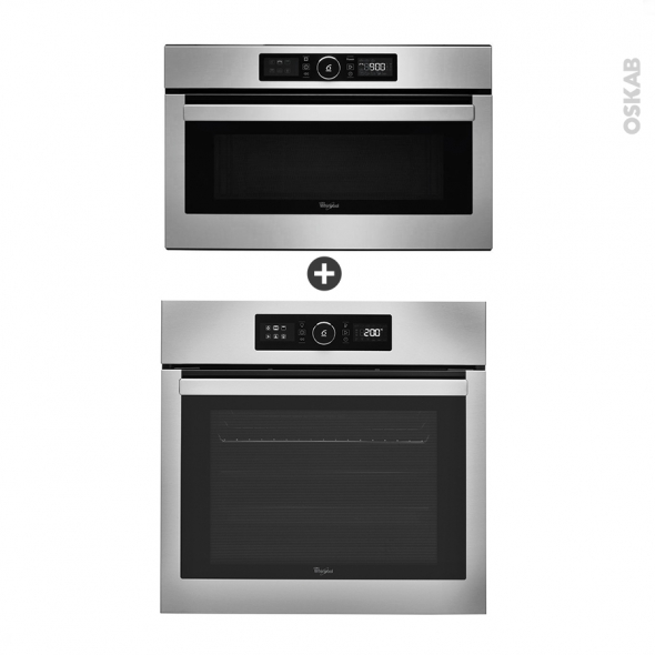 Pack design assorti - Eléctroménager encastrable - Inox - Four catalyse 65L - Micro-ondes 31L - WHIRLPOOL