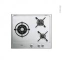 Plaque gaz - 3 foyers L55cm - Email Inox - WHIRLPOOL - AKT615IXL