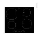 Plaque induction - 4 foyers L60cm - Verre Noir - LADEN - PIT002NE