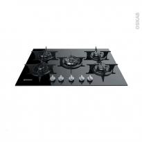 Plaque de cuisson 5 feux - Gaz 68 cm - Verre noir - INDESIT - PR 752 P/I(BK)