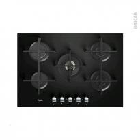 Plaque Gaz - 5 foyers L75cm - Verre Noir - WHIRLPOOL - AKT8000NB