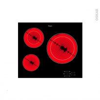 Plaque vitro - 3 foyers L60cm - Verre Noir - WHIRLPOOL - AKT8030NE