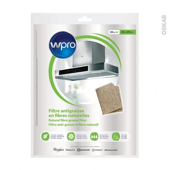 Filtre anti graisse - Universel en fibres naturelles - Ø 470 x 570 mm 330g - NGF331 - WPRO