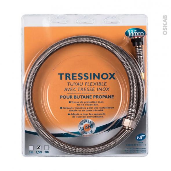 Flexibles de gaz - Tressinox gaz Butane/Propane - Validité 10 ans - Longueur 1.5 m - TBT157 - WPRO