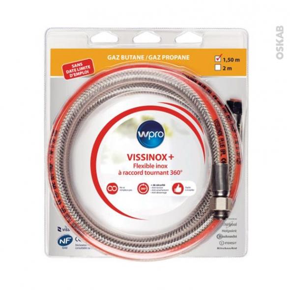 Flexibles de gaz - Vissinox+ gaz Butane/Propane - Validité illimitée - 1.5 m raccord tournant 360° - TBV150 - WPRO