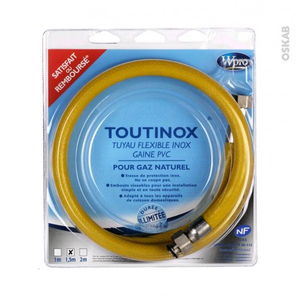 Flexibles de gaz - Toutinox gaz naturel - Validité illimitée - Longueur 1.5 m - TNE150 - WPRO