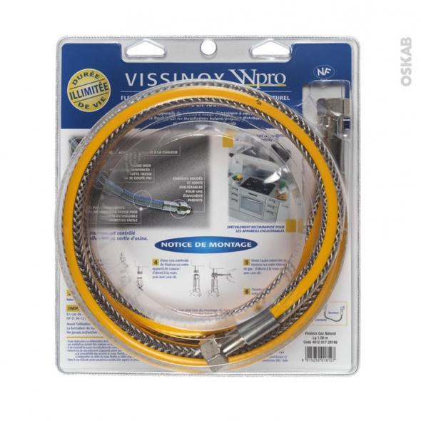 Flexibles de gaz - Vissinox gaz naturel - Validité illimitée - longueur 1.5 m - TNV156 - WPRO