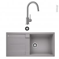 Pack Evier Mitigeur - BLANCO - Evier de cuisine Metra XL 6S - Granit - 1 grand bac égouttoir - Mitigeur MIDA-S - avec douchette - Gris alumétallic