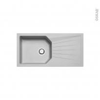 Evier de cuisine - AGORA - Résine gris - 1 grand bac égouttoir - à encastrer