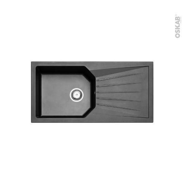 Evier de cuisine - AGORA  - Résine noir - 1 grand bac égouttoir - à encastrer