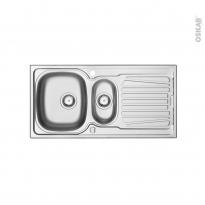 Evier de cuisine - ALVEO - Inox anti-rayures - 1 bac 1/2 égouttoir - à encastrer