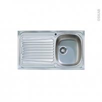 Evier de cuisine - ALVEO - Inox anti-rayures - 1 bac égouttoir - à encastrer