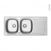 Evier de cuisine - ALVEO - Inox anti-rayures - 2 bacs égouttoir - à encastrer