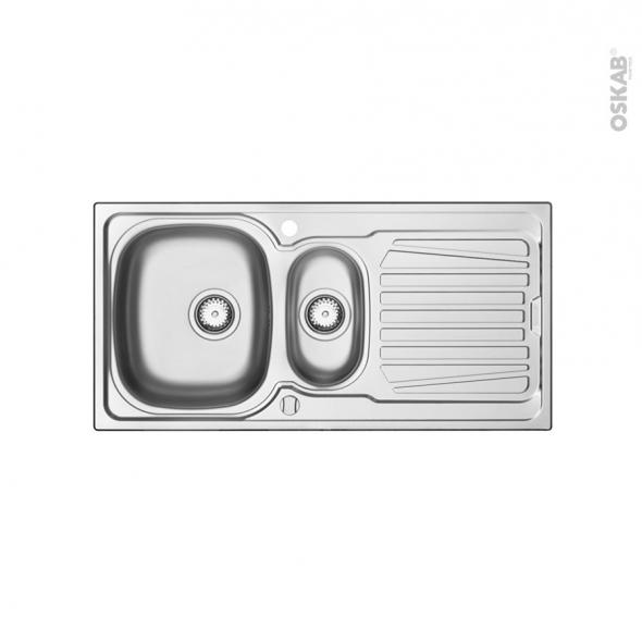 Evier de cuisine - ALVEO - Inox lisse - 1,5 bacs égouttoir - à encastrer