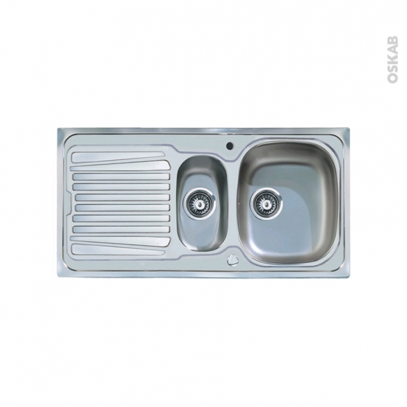 Evier de cuisine - ALVEO - Inox lisse - 1 bac 1/2 égouttoir - à encastrer