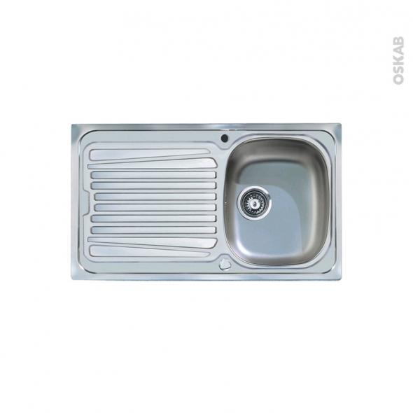 Evier de cuisine - ALVEO - Inox lisse - 1 bac égouttoir - à encastrer