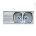 Evier de cuisine - BASENTO - Inox lisse - 2 bacs égouttoir - à encastrer