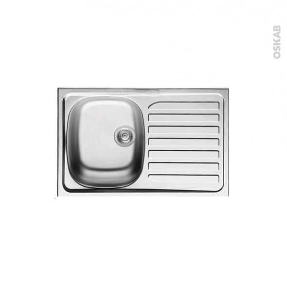 Evier de cuisine - BASENTO - Inox lisse - 1 bac égouttoir - à encastrer