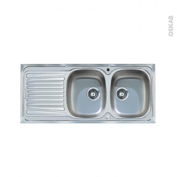 Evier BASENTO - Inox lisse - 2 bacs égouttoir - à encastrer