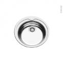 Evier de cuisine - BELO - Inox anti-rayures - 1 cuve ronde Ø48 cm - à encastrer