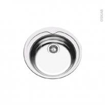 Evier de cuisine - BELO - Inox lisse - 1 cuve ronde Ø48 cm - à encastrer