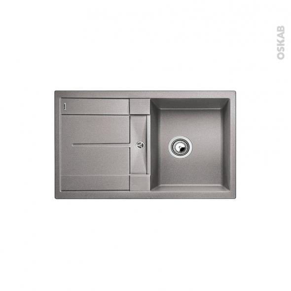 Evier de cuisine - METRA 45S - Granit gris alumétallic - 1 bac égouttoir - à encastrer - BLANCO