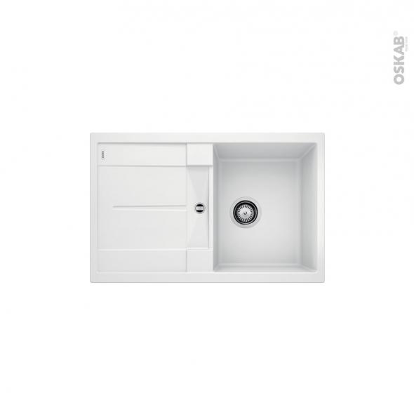 Evier de cuisine - METRA 45S - Granit blanc - 1 bac égouttoir - à encastrer - BLANCO
