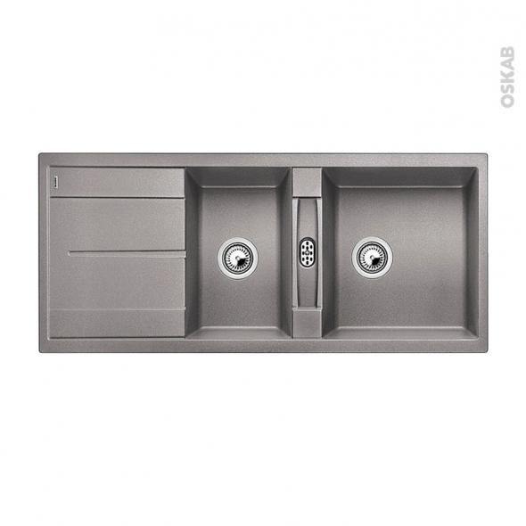 Evier de cuisine - METRA 8S - Granit alumétallic - 2 bacs égouttoir - à encastrer - BLANCO