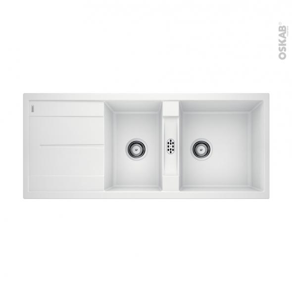 Evier de cuisine - METRA 8S - Granit blanc - 2 bacs égouttoir - à encastrer - BLANCO