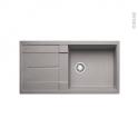 Evier de cuisine - METRA XL6S - Granit alumétallic - 1 grand bac égouttoir - à encastrer - BLANCO