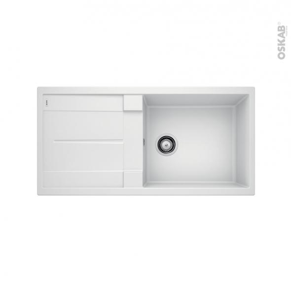 Evier de cuisine - METRA XL6S - Granit blanc - 1 grand bac égouttoir - à encastrer - BLANCO