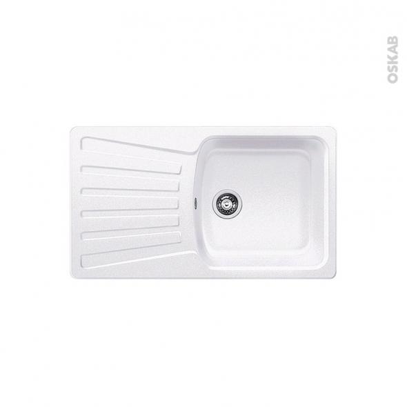 Evier de cuisine - NOVA 5S - Granit blanc - 1 bac égouttoir - à encastrer - BLANCO