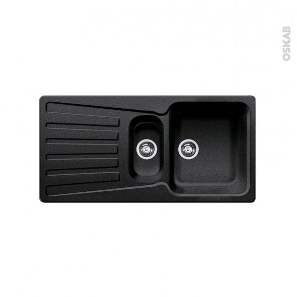 Evier de cuisine - NOVA 6S - Granit anthracite - 1 bac 1/2 égouttoir - à encastrer - BLANCO