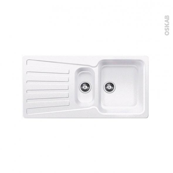 Evier de cuisine - NOVA 6S - Granit blanc - 1 bac 1/2 égouttoir - à encastrer - BLANCO