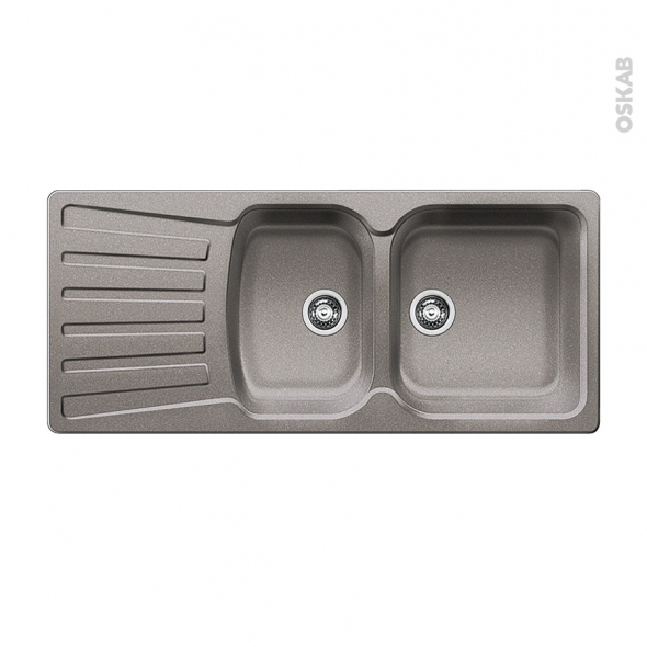 Evier de cuisine - NOVA 8S - Granit alumétallic - 2 bacs égouttoir - à encastrer - BLANCO