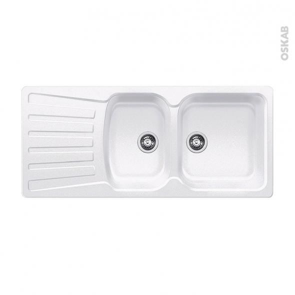 Evier de cuisine - NOVA 8S - Granit blanc - 2 bacs égouttoir - à encastrer - BLANCO