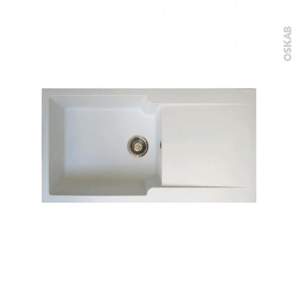 Evier de cuisine - BOLERO - Résine blanc - 1 grand bac égouttoir - à encastrer