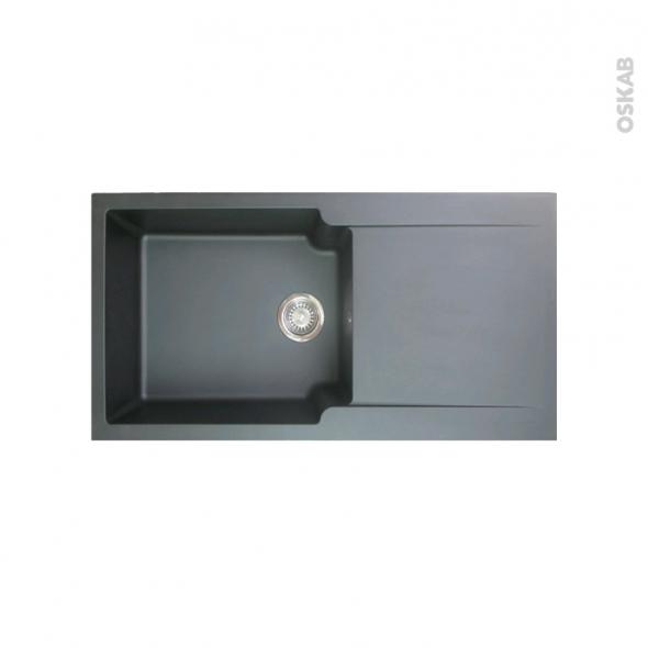 Evier de cuisine - BOLERO - Résine noir - 1 grand bac égouttoir - à encastrer