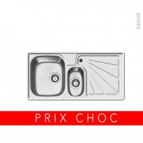 Evier de cuisine - DIMITRA - Inox lisse - 1 bac 1/2 égouttoir droite - à encastrer