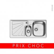 Evier de cuisine - DIMITRA - Inox lisse - 1 bac 1/2 égouttoir gauche - à encastrer