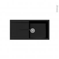 Evier de cuisine - INFINITY - Granit noir - 1 grand bac égouttoir - à encastrer