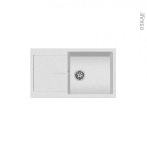 Evier de cuisine - INFINITY - Granit blanc - 1 bac égouttoir - à encastrer