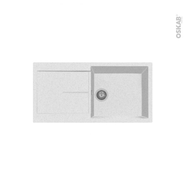 Evier de cuisine - INFINITY - Granit blanc - 1 grand bac égouttoir - à encastrer