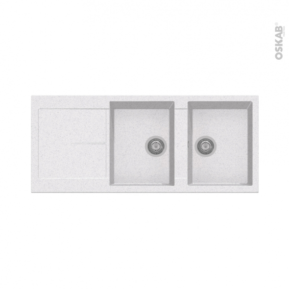 Evier de cuisine - INFINITY - Granit blanc - 2 bacs égouttoir - à encastrer