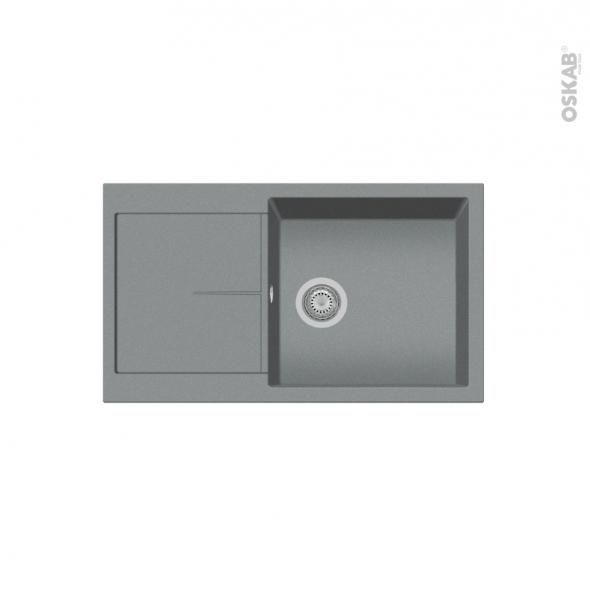 Evier de cuisine - INFINITY - Granit gris - 1 bac égouttoir - à encastrer