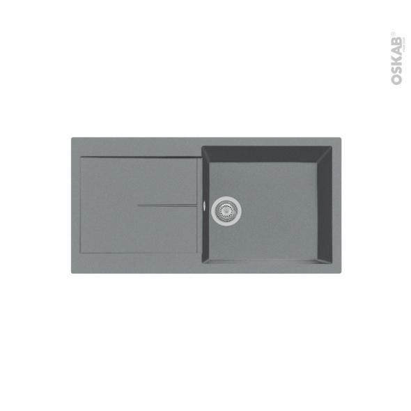 Evier de cuisine - INFINITY - Granit gris - 1 grand bac égouttoir - à encastrer