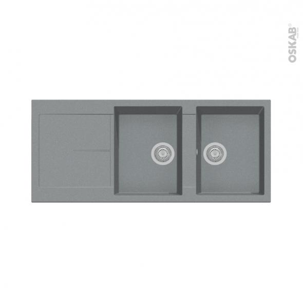 Evier de cuisine - INFINITY - Granit gris - 2 bacs égouttoir - à encastrer
