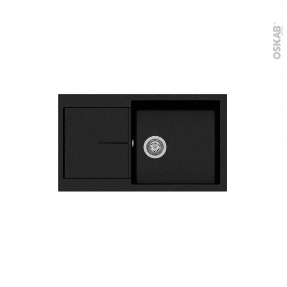 Evier de cuisine - INFINITY - Granit noir - 1 bac égouttoir - à encastrer